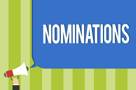 "graphics with a bullhorn and word bubble with ""nominations"""